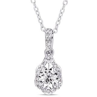 Laura Ashley 1/5ct TDW Diamond Teardrop Wavy Halo Necklace in Sterling Silver