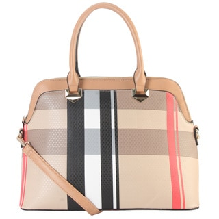 Diophy Taupe Faux Leather Large Plaid Tote Bag