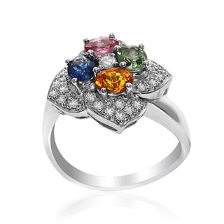 14k White Gold Women's Precious Multi Color Marquise Sapphire Diamond Accent Flower RIng SIze 7.25