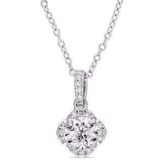 Laura Ashley 1/5ct TDW Diamond Wavy Quatrefoil Halo Drop Necklace in Sterling Silver
