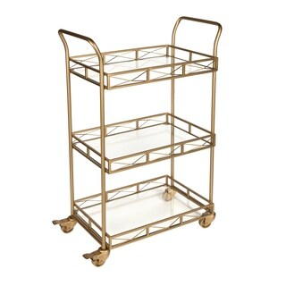Kate and Laurel Ketia Goldtone Metal and Glass 3-tiered Tray Bar Cart