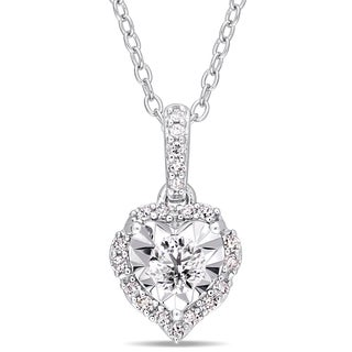 Laura Ashley 1/5ct TDW Diamond Wavy Heart Halo Drop Necklace in Sterling Silver