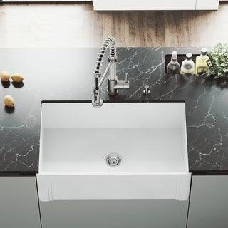 VIGO White 30-inch Casement Front Matte Stone Farmhouse Kitchen Sink