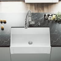 "VIGO 30"" Handmade Matte Stone Farmhouse Apron Front Kitchen Sink"