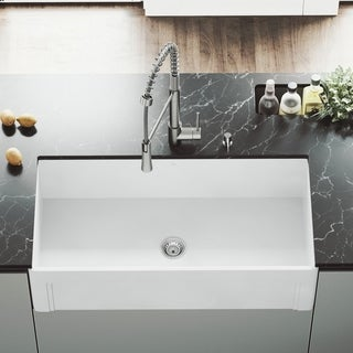 "VIGO 36"" Casement Front Matte Stone Farmhouse Kitchen Sink"