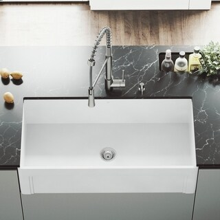 "VIGO 36"" Matte Stone Casement Front Farmhouse Kitchen Sink"