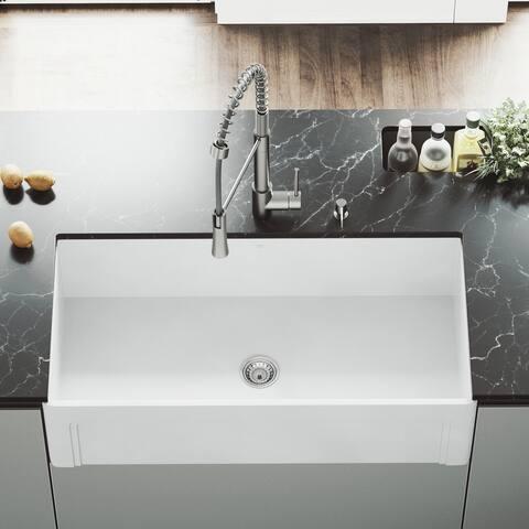 VIGO White 36-inch Casement Front Matte Stone Farmhouse Kitchen Sink