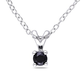 Miadora Sterling Silver 1/6ct TDW Black Diamond Solitaire Dangle Necklace