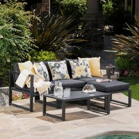 Navan Outdoor 5-piece Aluminum Sofa Set with Water Resistant Cushions by Christopher Knight Home