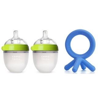 Comotomo 5 Ounce Baby Bottles with Bonus Teether - Boy