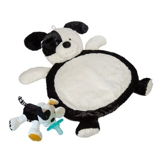 Mary Meyer Baby Mat - Black & White Puppy with WubbaNub Tic Tac Toby Infant Pacifier