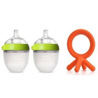 Comotomo 5 Ounce Baby Bottles with Bonus Teether - Neutral