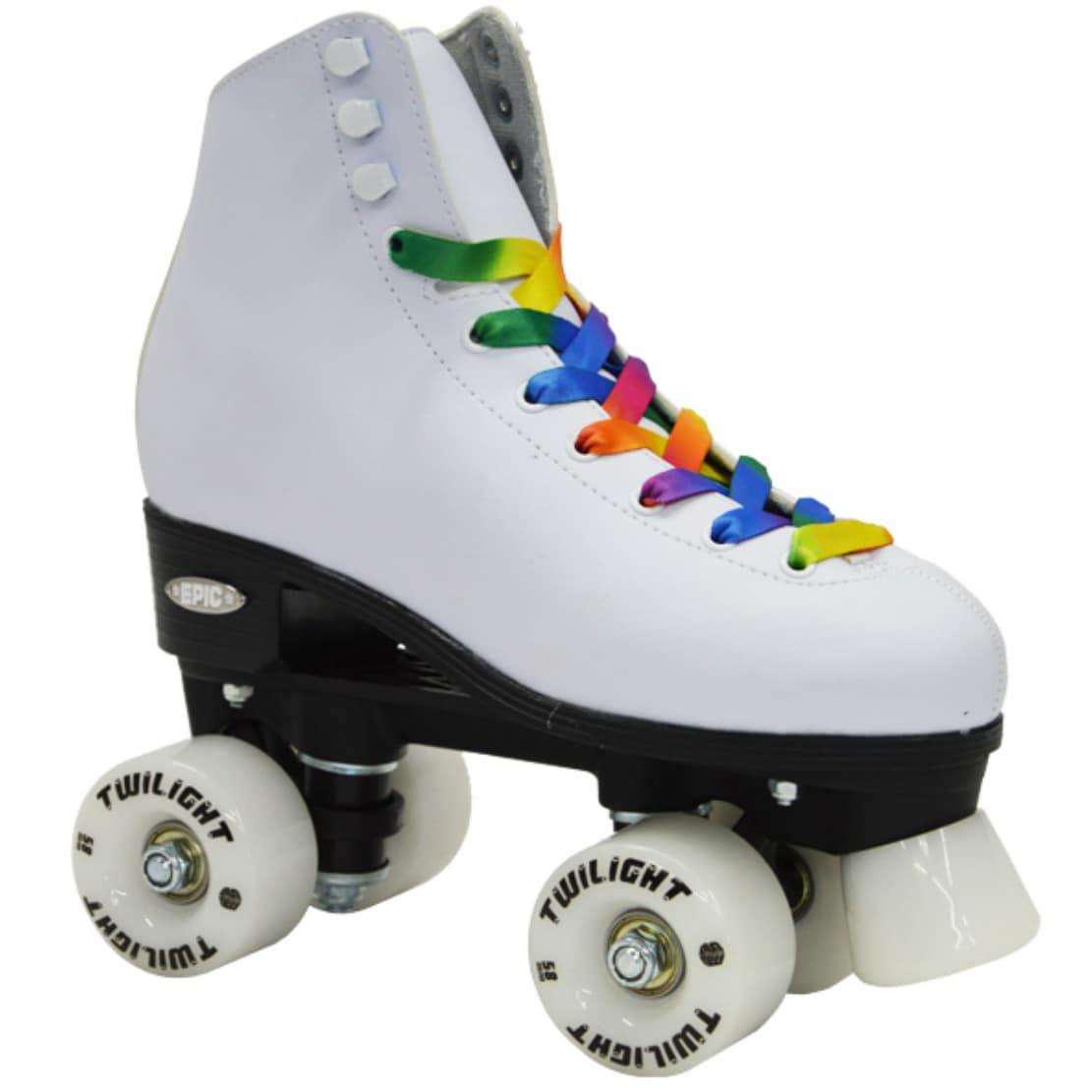 White Nylon High-top Quad Roller Skates