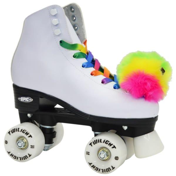 Epic Allure Twilight Rainbow LED Light UP White Nylon High-top Quad Roller Skates