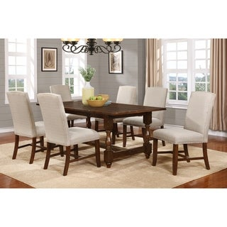 Best Master Furniture H01 Walnut-finished Birchwood and Taupe Linen-blend Fabric With Silver Nailhead 5-piece Dining Set