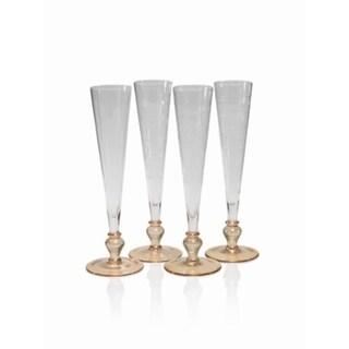 """Tatiana"" 11"" Tall Flute Champagne Glass, Light Amber Base (Set of 4)"