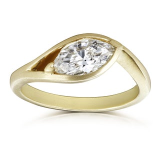Annello by Kobelli Certified 14k Yellow Gold 1ct Marquise Diamond Brushed Finish Solitaire Engagement Ring