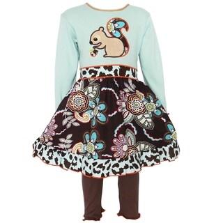 AnnLoren Girls Autumn Forest Squirrel Dress & Leggings Set (Option: 2t)