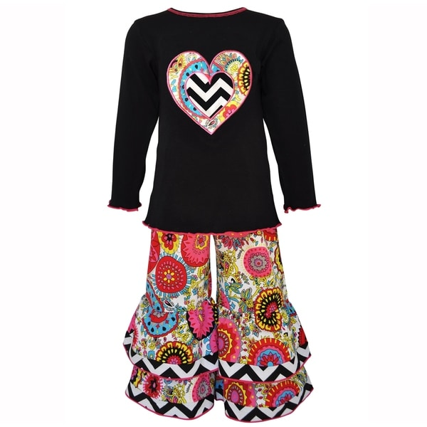 AnnLoren Girls Fabulous Floral Heart Knit tunic and Pants Outfit