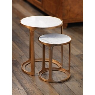 Zodax Nikki Round Marble and Raw Aluminum Nesting Tables, Set of 2
