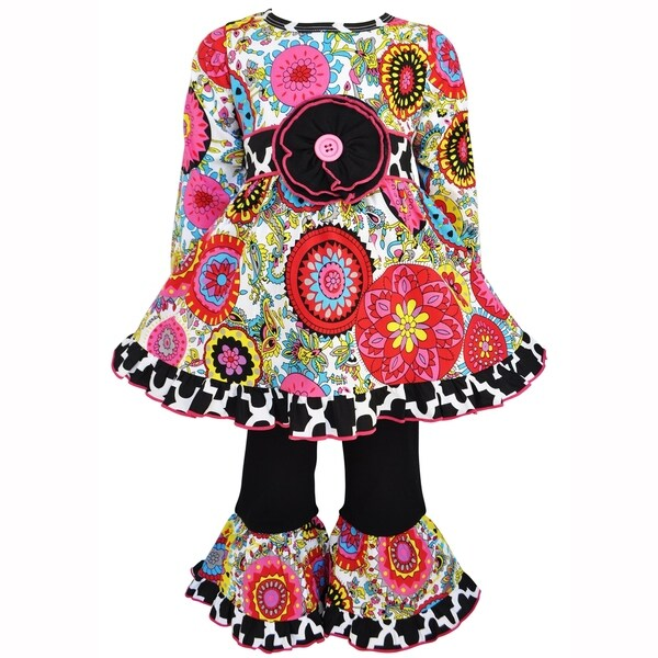 AnnLoren Girls Fabulous Floral & Damask Dress and Pant Set