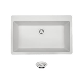 MR Direct TruGranite T848-White Large Single Bowl Topmount Sink
