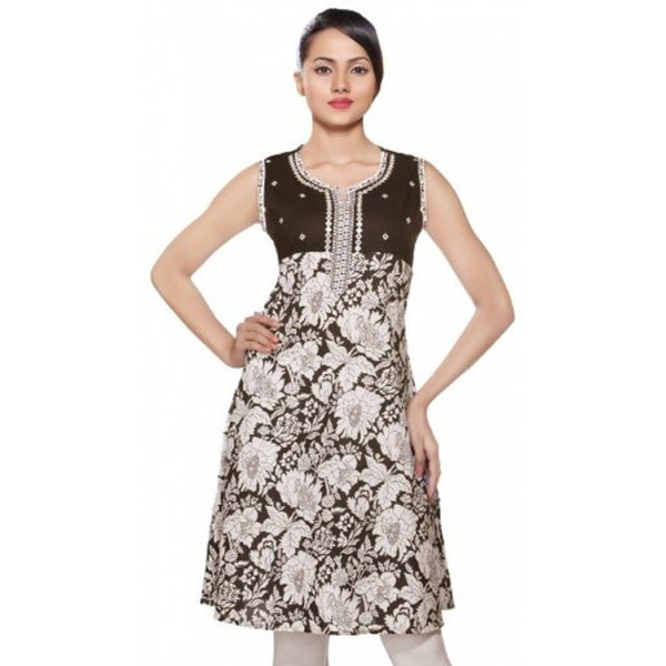 f82665ab13a Handmade In-Sattva Women's Indian Ethnic Kurta Tunic With Floral Print
