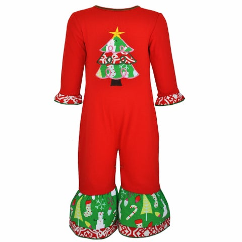 AnnLoren Baby Girls Red Christmas Tree Romper