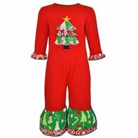 AnnLoren Baby Girls Red Christmas Tree Romper