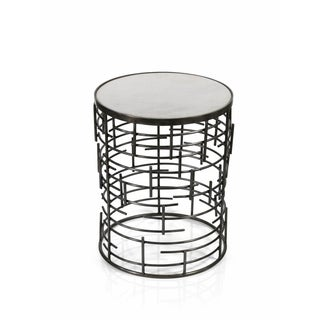 Zodax 20-Inch High Barcelona Side Table with Marble Top