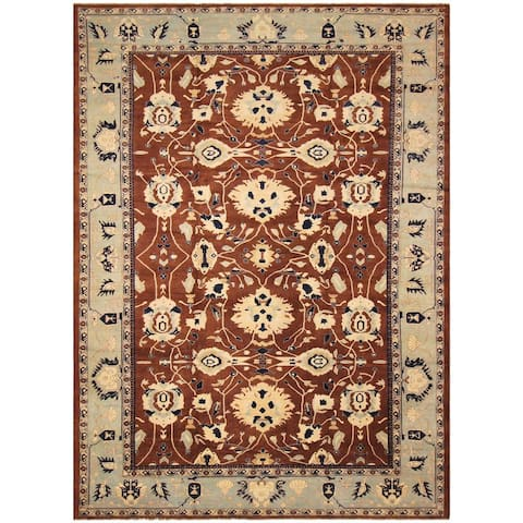 Hand-Knotted Kafkaz Sun-Faded Jeane Brown/Lt. Blue Wool Rug (12'3 x 17'9) - 12 ft. 3 in. x 17 ft. 9 in.