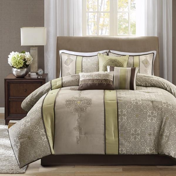 Madison Park Blaine Green 7-piece Jacquard Comforter Set