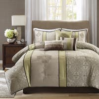 Madison Park Blaine Green 7-piece Jacquard Comforter Set