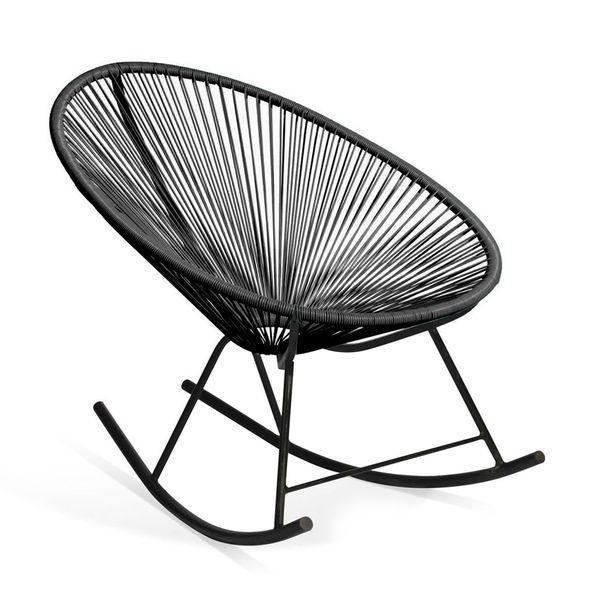 Vinyl Furniture Outdoor: Shop Acapulco Black Vinyl Indoor/Outdoor Rocking Chair