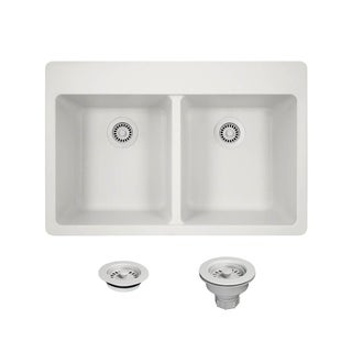 trugranite silver double equal bowl topmount sink acrylic kitchen sinks for less   overstock com  rh   overstock com