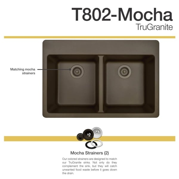 MR Direct TruGranite Mocha Double Equal Bowl Topmount Sink   Free Shipping  Today   Overstock.com   22960811