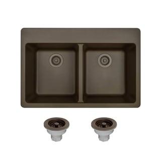 MR Direct TruGranite Mocha Double Equal Bowl Topmount Sink