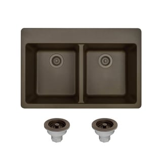 trugranite mocha double equal bowl topmount sink acrylic kitchen sinks for less   overstock com  rh   overstock com