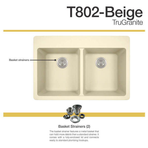 MR Direct TruGranite Beige Double Equal Bowl Topmount Sink   Free Shipping  Today   Overstock.com   22960813