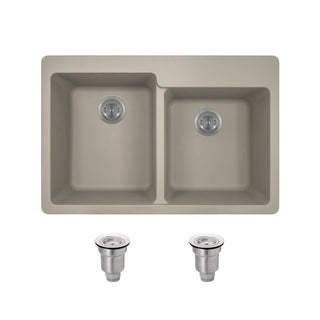 TruGranite Slate Double Offset Bowl Topmount Sink