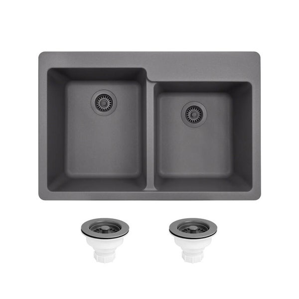 TruGranite Silver Double Offset Bowl Sink