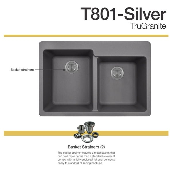 MR Direct TruGranite Silver Double Offset Bowl Sink   Free Shipping Today    Overstock.com   22960816