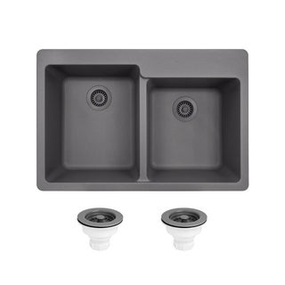 MR Direct TruGranite Silver Double Offset Bowl Sink