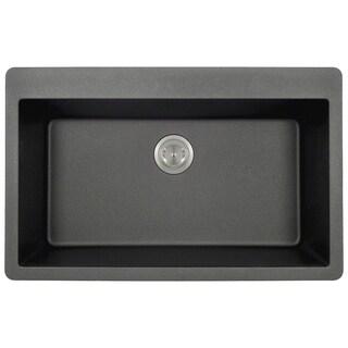t848 black black trugranite large 1 bowl top mount sink acrylic kitchen sinks for less   overstock com  rh   overstock com