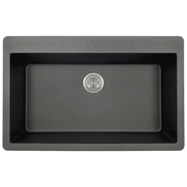 T848-Black Black Quartz Large single-bowl Top-mount Sink