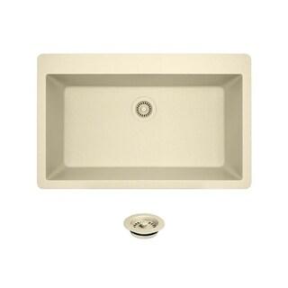 T848-Beige Quartz Large single-bowl Top-mount Sink