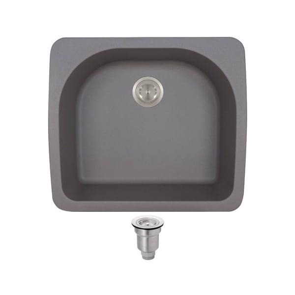 MR Direct TruGranite T824 Silver D Bowl Topmount Sink