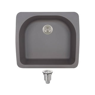 MR Direct TruGranite T824-Silver D-bowl Topmount Sink