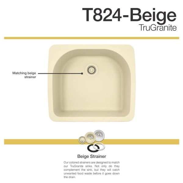 TruGranite T824 Beige Quartzite And Acrylic D Bowl Topmount Sink   Free  Shipping Today   Overstock.com   22960831