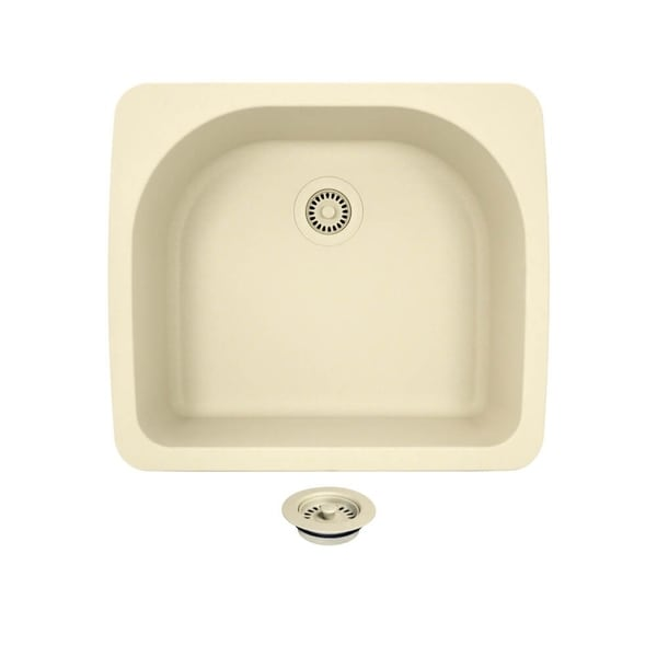 TruGranite T824 Beige Quartzite and Acrylic D-bowl Topmount Sink